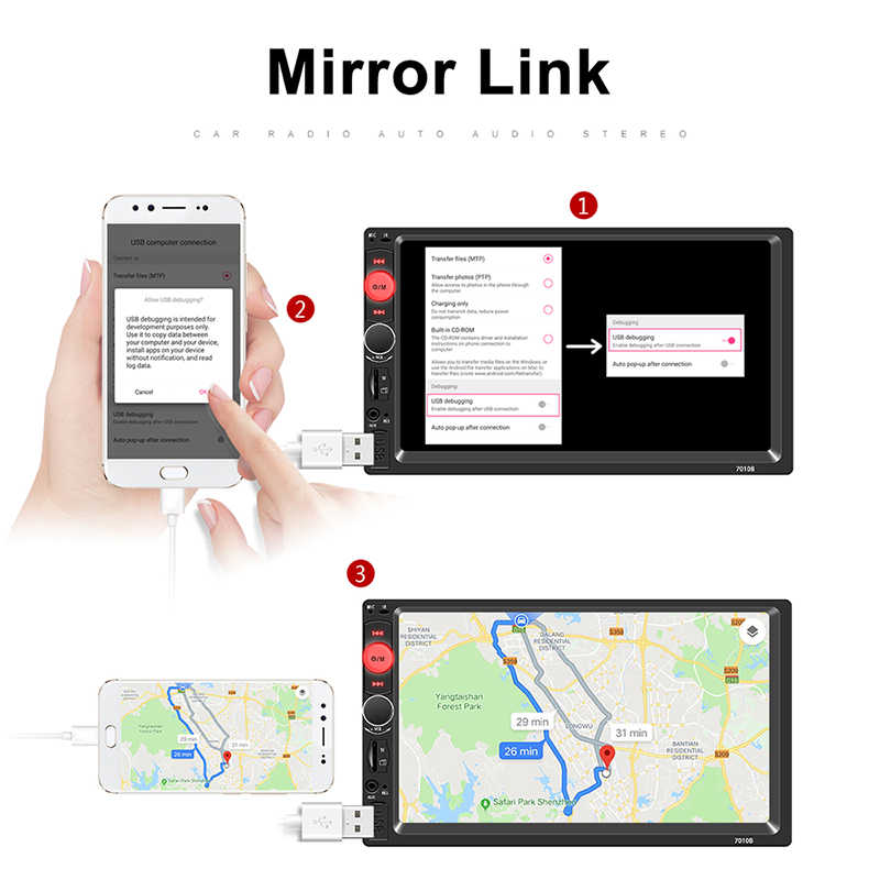 "2 Din Mobil Radio 7 ""HD Auto Radio Multimedia Player 2DIN Layar Sentuh Auto Audio Stereo Mobil MP5 Bluetooth USB TF FM Kamera"