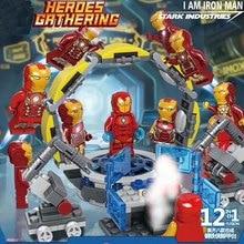 12pcs Avengers 4 Iron Man Stark Industries Building Blocks Bricks Boy Toys B719