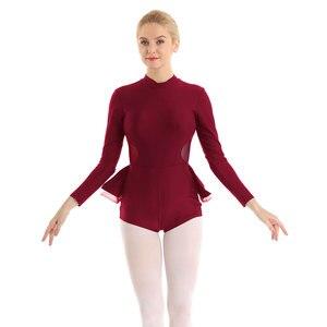 Image 3 - Women ballet leotards dance costumes Mock Neck Long Sleeves Keyhole Back Gymnastics Leotard Bodysuit Ballet Dance dress women
