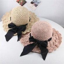 Летняя детская соломенная волнистая соломенная шляпа, Корейская версия смешанных цветов, солнцезащитный козырек, бант, гирлянда, Пляжная Шляпа От Солнца# p3