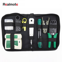 Realmote Cable Tester 10pcs LAN Network Tool Set Crimper Stripper Optical Fiber Toolkit Installer Repair Ferramentas Pdr(China)