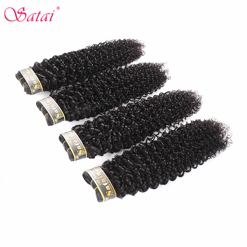 Satai Mongolian Kinky Curl Hair Human Hair Bundles 4 Bundles 8-28 inches deal Non-Remy Hair Extension Natural Color No Tangle