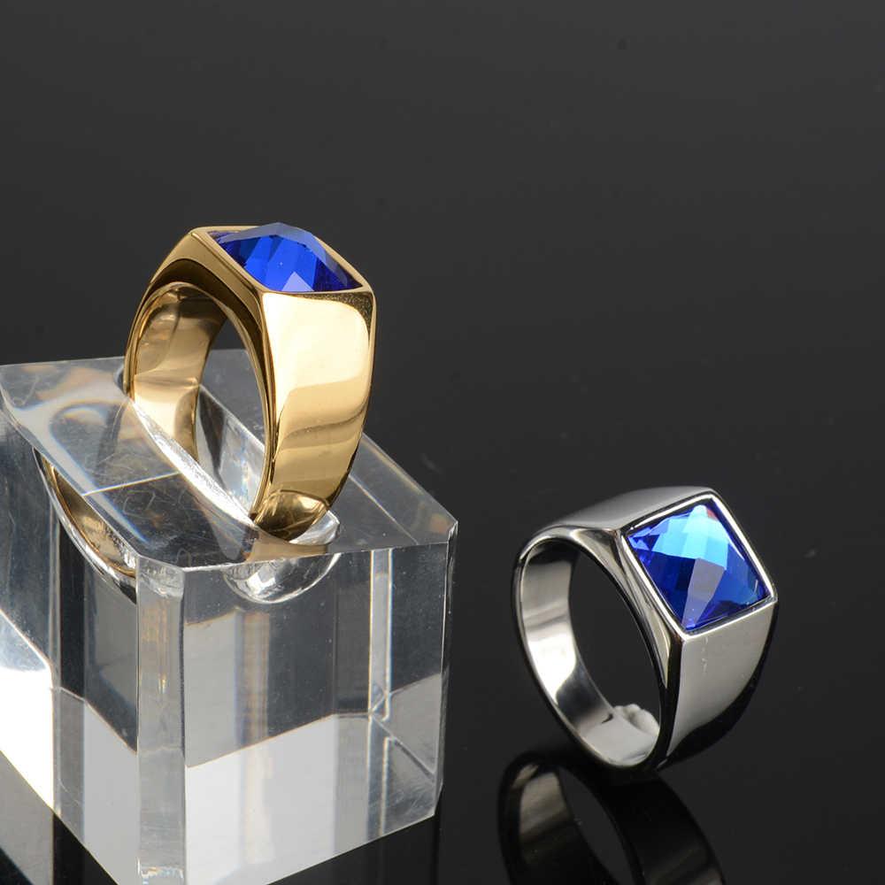 Gros anneaux en pierre bleue pour homme strass multicolore véritable acier inoxydable mariage femme bijoux ado Chic Chunky anneau pas fade