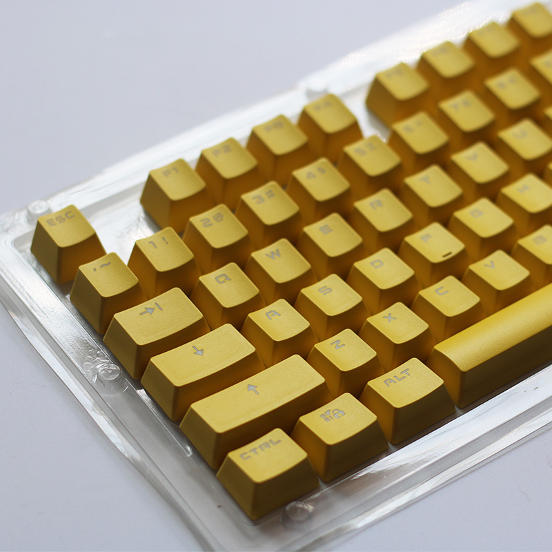 PBT 104-87-84 Keys Keycaps Double Shot Backlit Keycap For Cherry MX Mechanical Keyboard Yellow