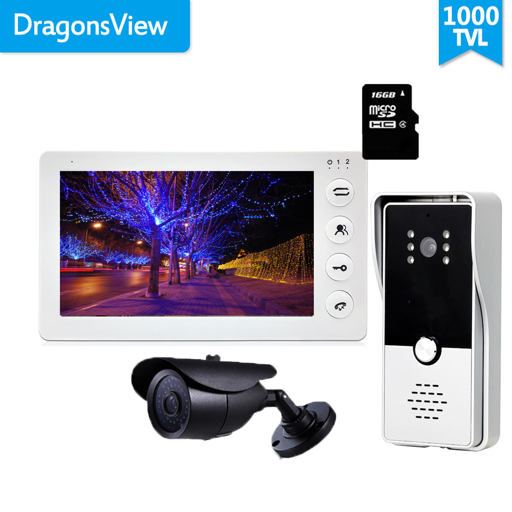 Dragonsview Home Intercom System 7 Inch Video Door Phone Doorbell Camera Record Motion Detection Unlock SD Card