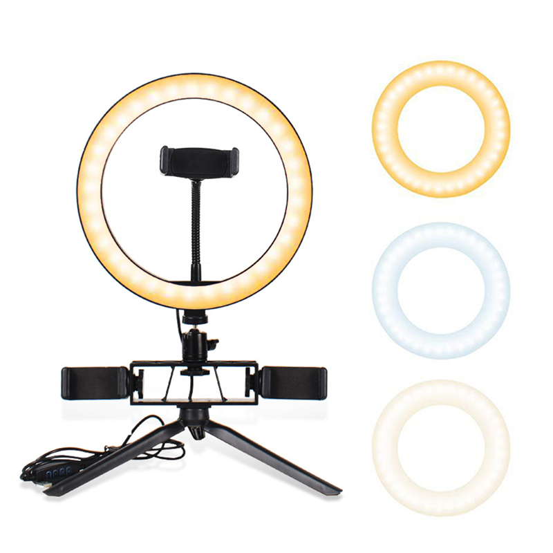 Led Selfie Ring Light with Tripod Stand Cell Phone Holder USB Ring Lamp for Live Stream Makeup TikTok YouTube Video Photography