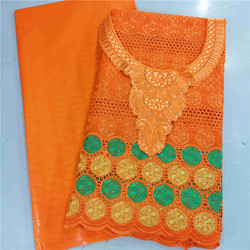2.5 y Swiss voile lace  +2.5 y Perfume Bazin Brode riche +collar embroidery African fabrics cotton Lace popular Dubai style HL83