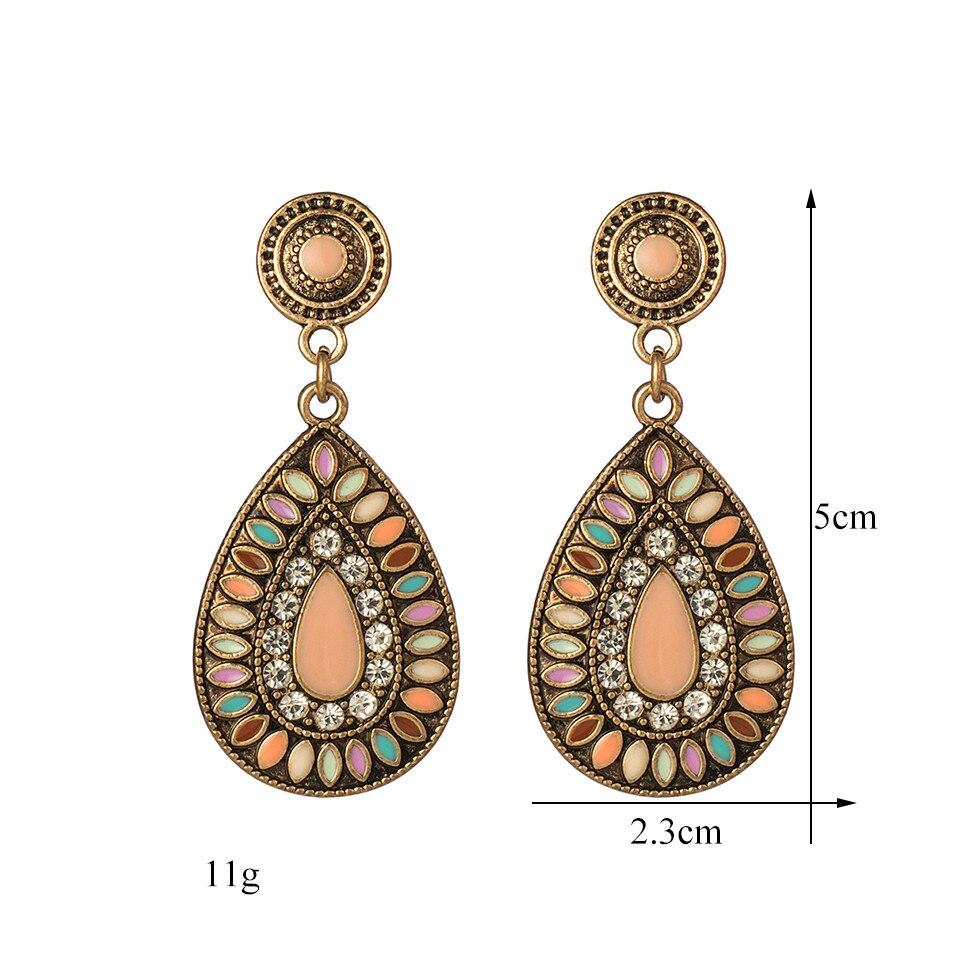 Ethnic Big Long Water Drop Earrings for Women Bohemian Vintage Metal Colorful Flowers Wedding Statement Earring Indian Jewelry (69)