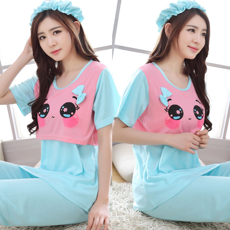 Summer T-shirt Confinement Clothing 09902-10 # Pregnant Women Japanese Korean Hoodie Pajamas Short Sleeve Pregnant After Nursing