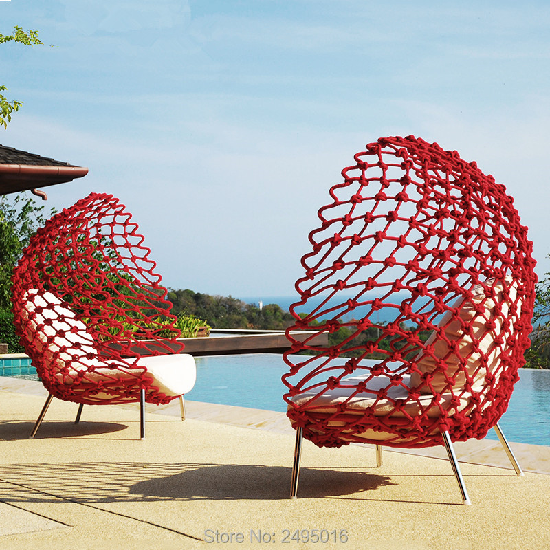 2pcs/set Egg Type Outdoor Table And Chair Model Room Rattan Chair Sofa Garden Living Room Table And Chairs Creative Furnitur