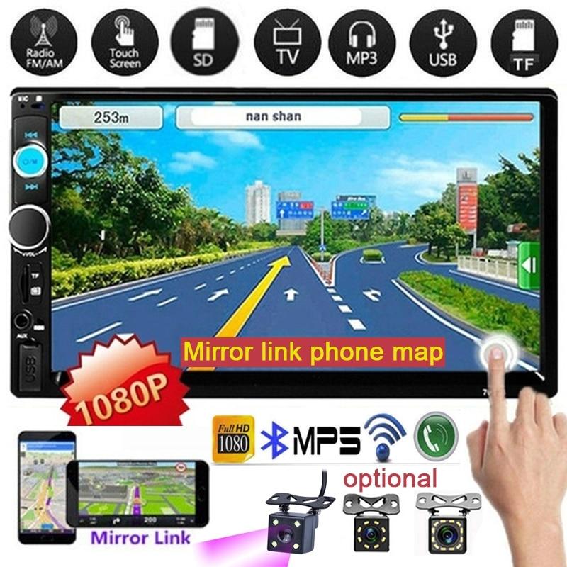 Автомагнитола 2 Din с сенсорным экраном 7 дюймов, HD, Bluetooth, FM/USB/AUX, поддержка SD