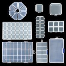 9 größen Kunststoff Lagerung Schmuck Box Fach Einstellbare Container für Perlen ohrring box für schmuck rechteck Box Fall