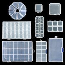 Caja de almacenamiento de joyería de plástico de 9 tamaños, contenedor ajustable para cuentas, caja de pendientes para joyería, caja rectangular