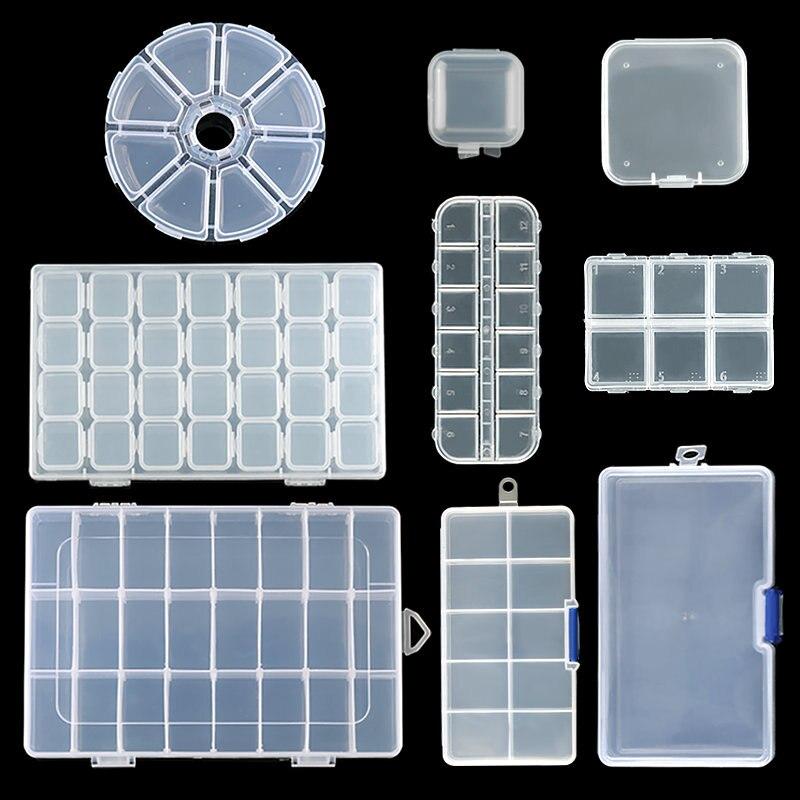 9 tamanhos de armazenamento plástico caixa de jóias compartimento recipiente ajustável para contas brinco caixa para jóias retângulo caixa caso