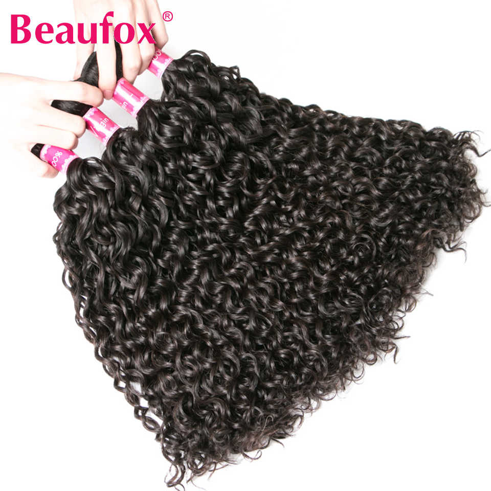 Beaufox Malaysian Water Wave 3 Bundles With Frontal Closure Remy Human Hair With Closure Lace Frontal Closure With Bundles