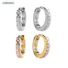Kikichicc 925 Sterling Silver Zircon CZ Huggies Middle Hoops Piercing Zircon Pendiente 2020 Fashion Women Earring Jewelry