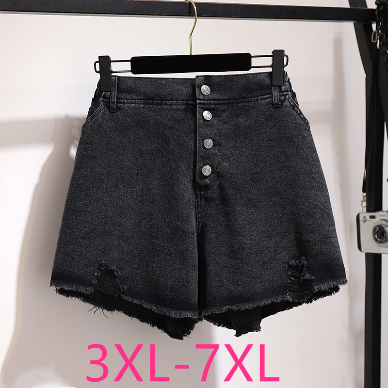 New 2020 Summer Plus Size Denim Shorts For Women Large Loose Casual Elastic Waist Pocket Hole Jeans Shorts Black 4XL 5XL 6XL 7XL