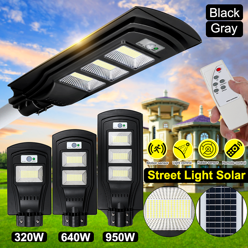320W 640W 950W Solar Street Light Outdoor Lighting Garden Yard Wall Highway Parking Lot Security Lamp IP67 Waterproof