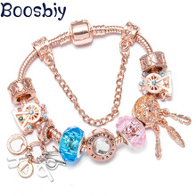 Boosbiy Rose Gold Charm Bracelets With Color ferris wheel & Happy Pendant Fits Brand Bracelets For Women Nice Jewelry Gift