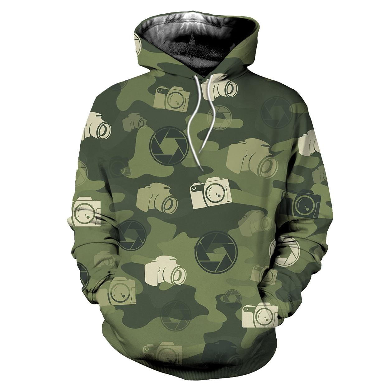 Fashion Harajuku Style 3D Hoodie  Camouflage Camera Hoodies  Unisex  Hoodie &Zip Hoodie