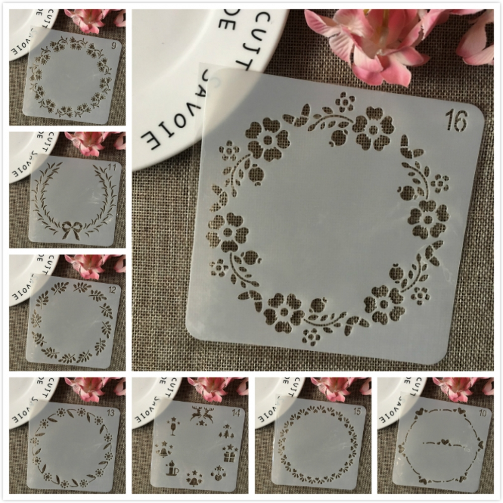 8Pcs/Set 13cm Garland Circle DIY Layering Stencils Wall Painting Scrapbook Coloring Embossing Album Decorative Card Template