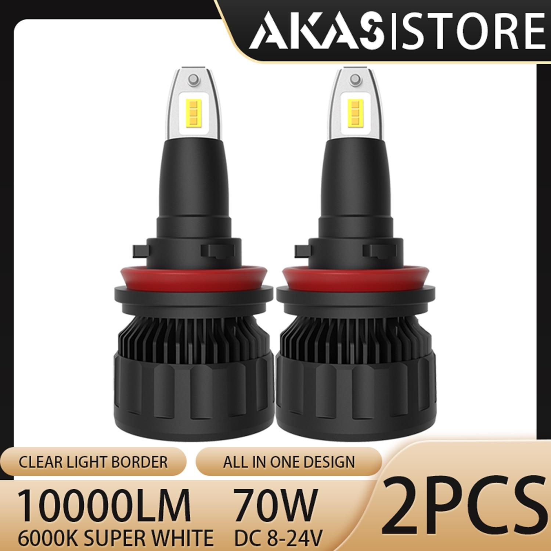 AKAS LED Headlight Kit 70W 10000LM Hi Or Lo Beam 6000K White H1 H3 H4 H7 H11 9005 9006 9012 LED Bulbs