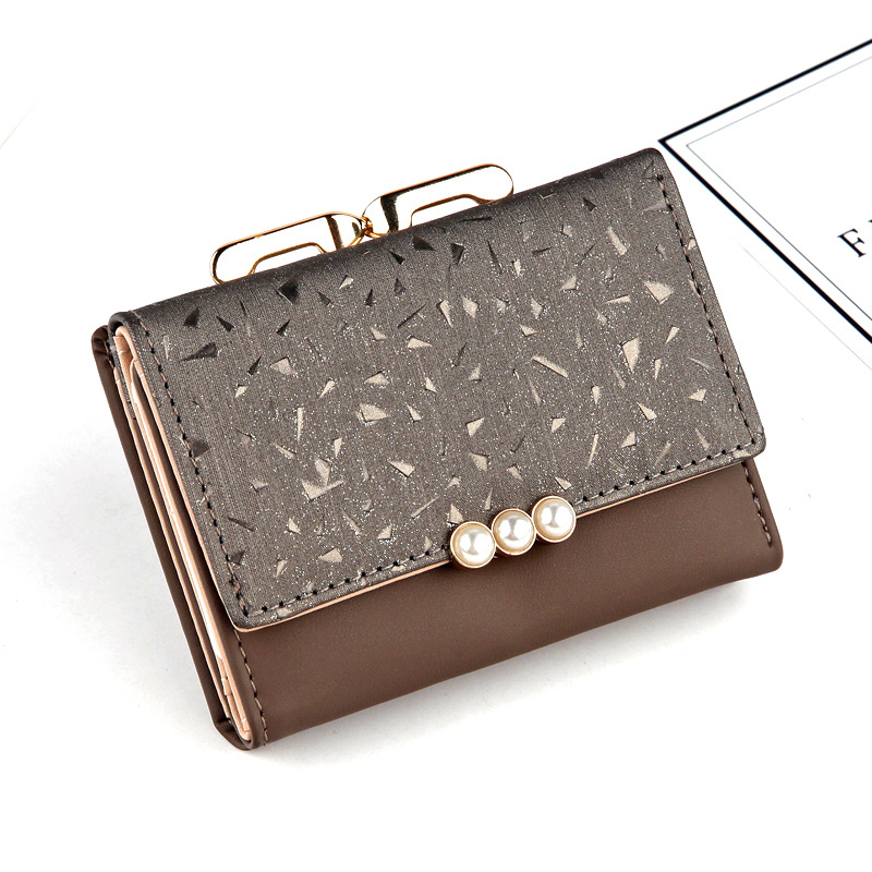 New Women PU Leather Pearl Short Wallet Female Coin Purse Fashion Purse Money Bag Vintage Card Holders Womens Small Wallets