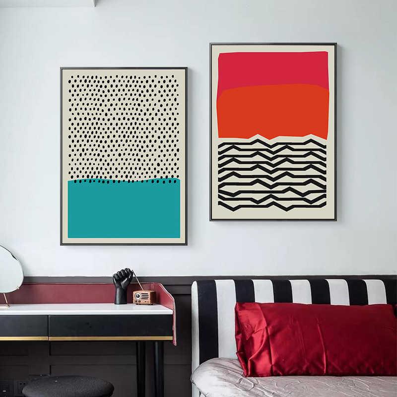 الحديث متعدد الألوان الأحمر الأزرق مجردة هندسية الرسم على لوحات القماش الجدارية صورة ملصق و طباعة معرض غرفة المعيشة ديكور المنزل
