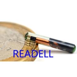 READELL 10 pçs/lote 1.4x8mm134.2/125KHz RFID Tag Vidro para Identificação Animal de Estimação, tag para pequenas rastreamento animal/identificação