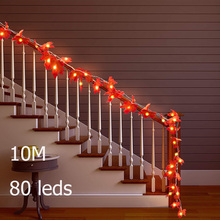 10M 80 Led Lights Fairy String Maple Leaves Light Battery Operate for Table Home Decor Stairs Railing Christmas Party Decoration
