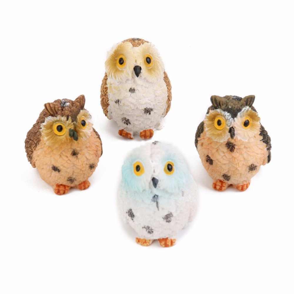 1Pcs Muschio Terrario Decor Carino Gufi Animale Della Resina Miniature Figurine Mestiere Vasi Bonsai Casa Fairy Garden Ornamento Decorazione