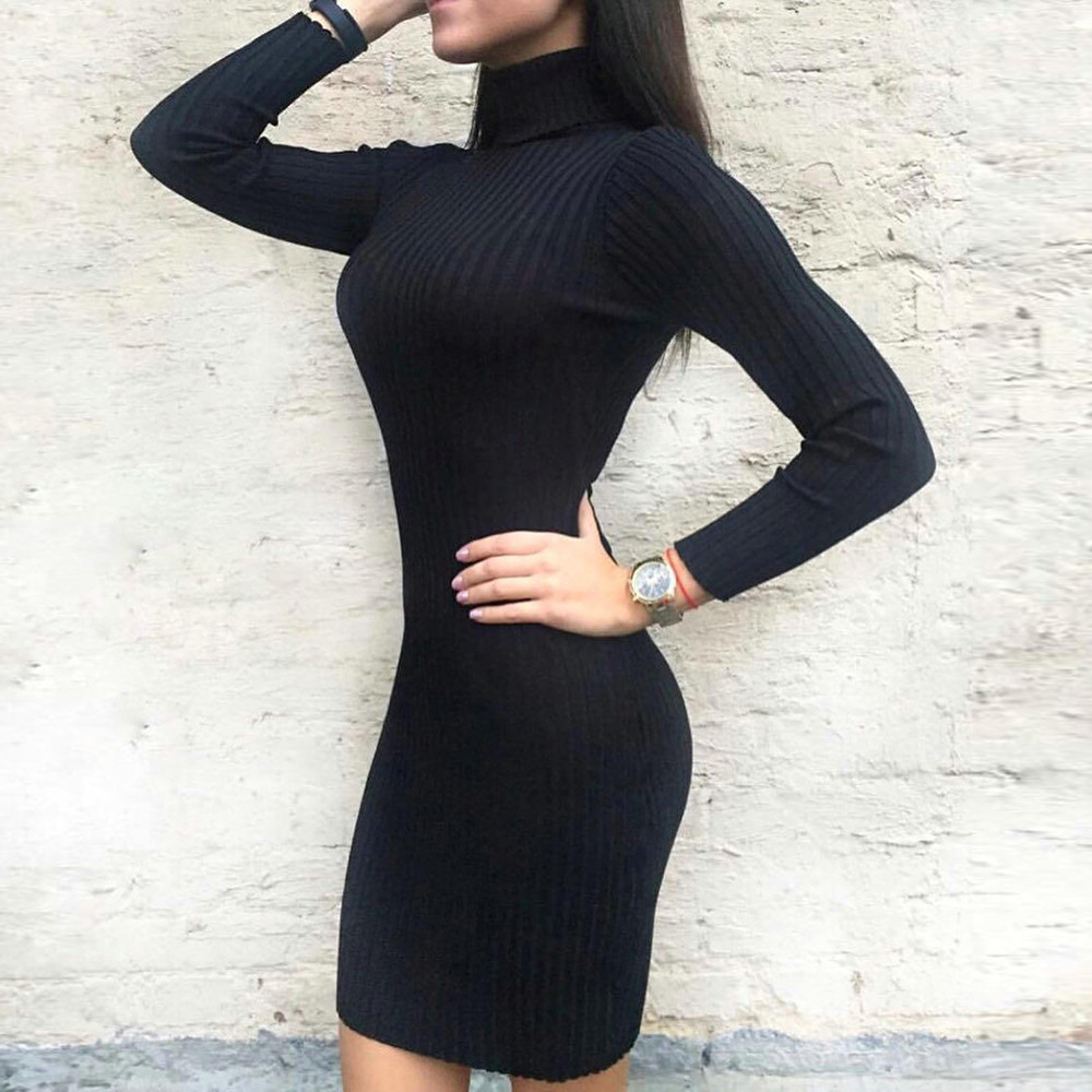 Sweater Winter Jumper Pullovers Turtleneck Knitting Long-Sleeve Autumn Casual Womens