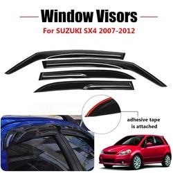 4X Car Window Protector Sun Guard Vent Wind Visor Rain Guards  Sun Shade for SUZUKI SX4 Hatchback 5door 2007 2008 2009 - 2012