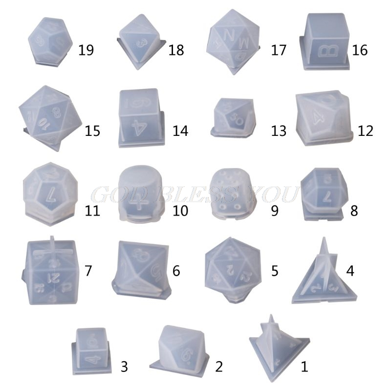 DIY Crystal Epoxy Mold Dice Fillet Shape Multi-spec Digital Game High Mirror Dice Mold Silicone Mould Making Drop Shipping