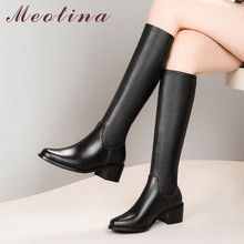 Meotina Winter Riding Boots Women Natural Genuine Leather Thick Heels Knee High Boots Zip Round Toe Shoes Lady Autumn Size 33-42 цена