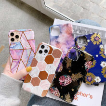 Ottwn Phone Case For iPhone 11 Pro 7 8 Plus XS Max XR X Vintage Flowers Marble Stone Geometric Hard Plastic PC Full Cover Cases(China)