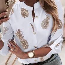 Women Autumn Printing Shirts Chiffon blouse shirt Long Sleev