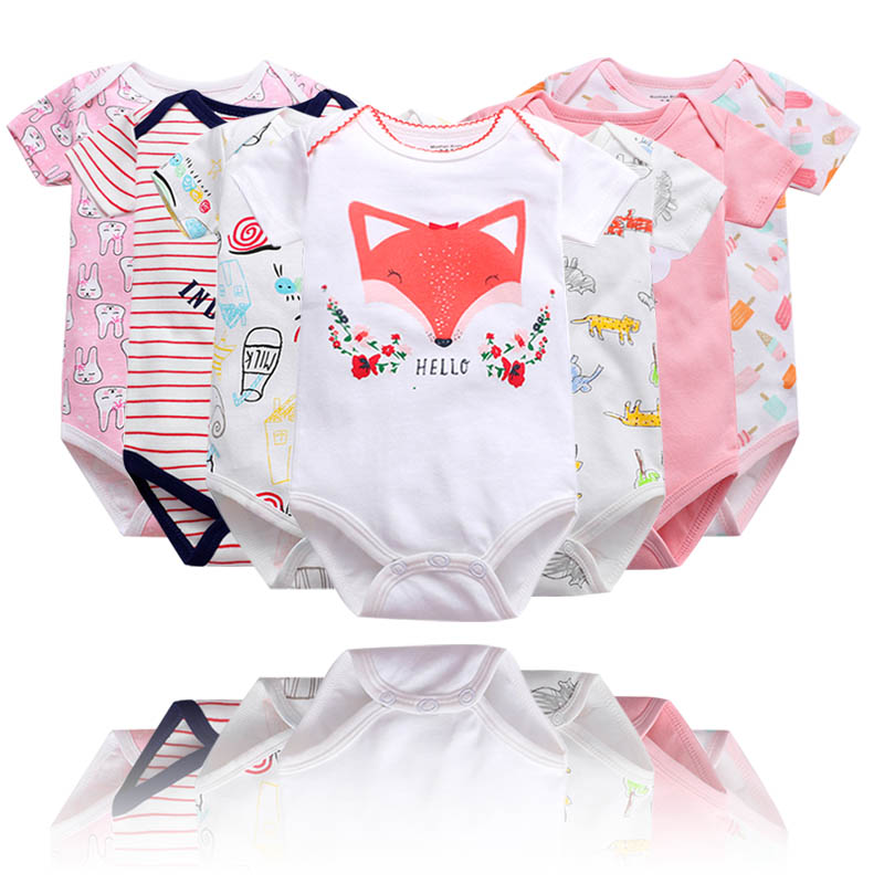 Newborn Bodysuit Baby Babies Bebes Clothes Short Sleeveprinting Infant Clothing 0-24 Months 100% Cotton