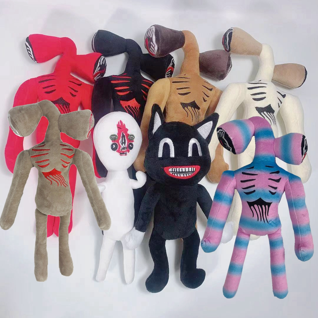 Anime sirene cabeça brinquedo de pelúcia dos desenhos animados sirenhead animais de pelúcia boneca horror gato preto peluches brinquedos para crianças presente natal