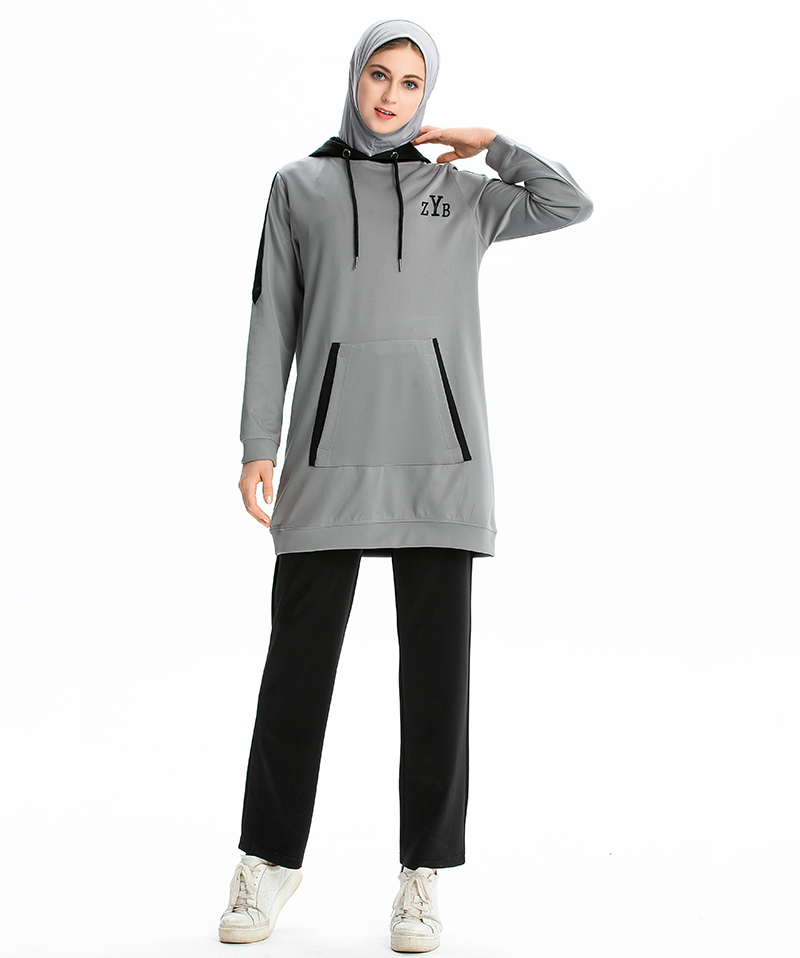 Image 3 - 2 PCS/Set Muslim Womens Tracksuits Women IslamicTracksuit Muslimah Sweatshirt Pants Jogging Homme Suits Sports Wear For Femme-in Running Sets from Sports & Entertainment on AliExpress
