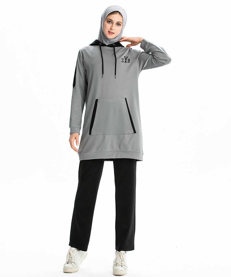 2 шт./компл. мусульманские женские спортивные костюмы женские islamicспортивный костюм mAh Толстовка Брюки Беговые брюки для мужчин костюмы Спортивная одежда для женщин