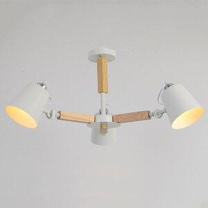 Image 3 - Lampadario a LED E27 a testa girevole in legno nordico luce in ferro bianco e nero per sala da pranzo soggiorno camera da letto hotel appartamento