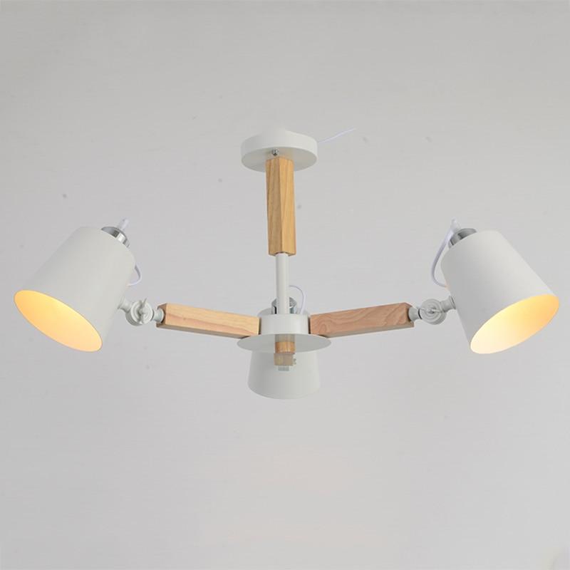 Image 3 - Nordic simple wooden E27 220V LED steering chandelier black&white two color iron chandelier for dining room living room bedroom-in Pendant Lights from Lights & Lighting