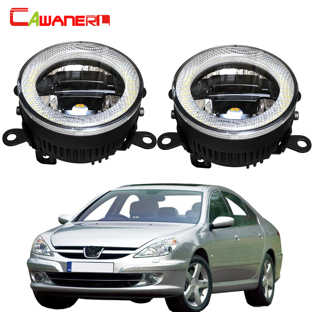 Cawanerl Car LED Bulb Front Fog Light Daytime Running Lamp DRL Angel Eye 3000LM 12V For <font><b>Peugeot</b></font> <font><b>607</b></font> (9D, 9U) Saloon 2000-2006 image