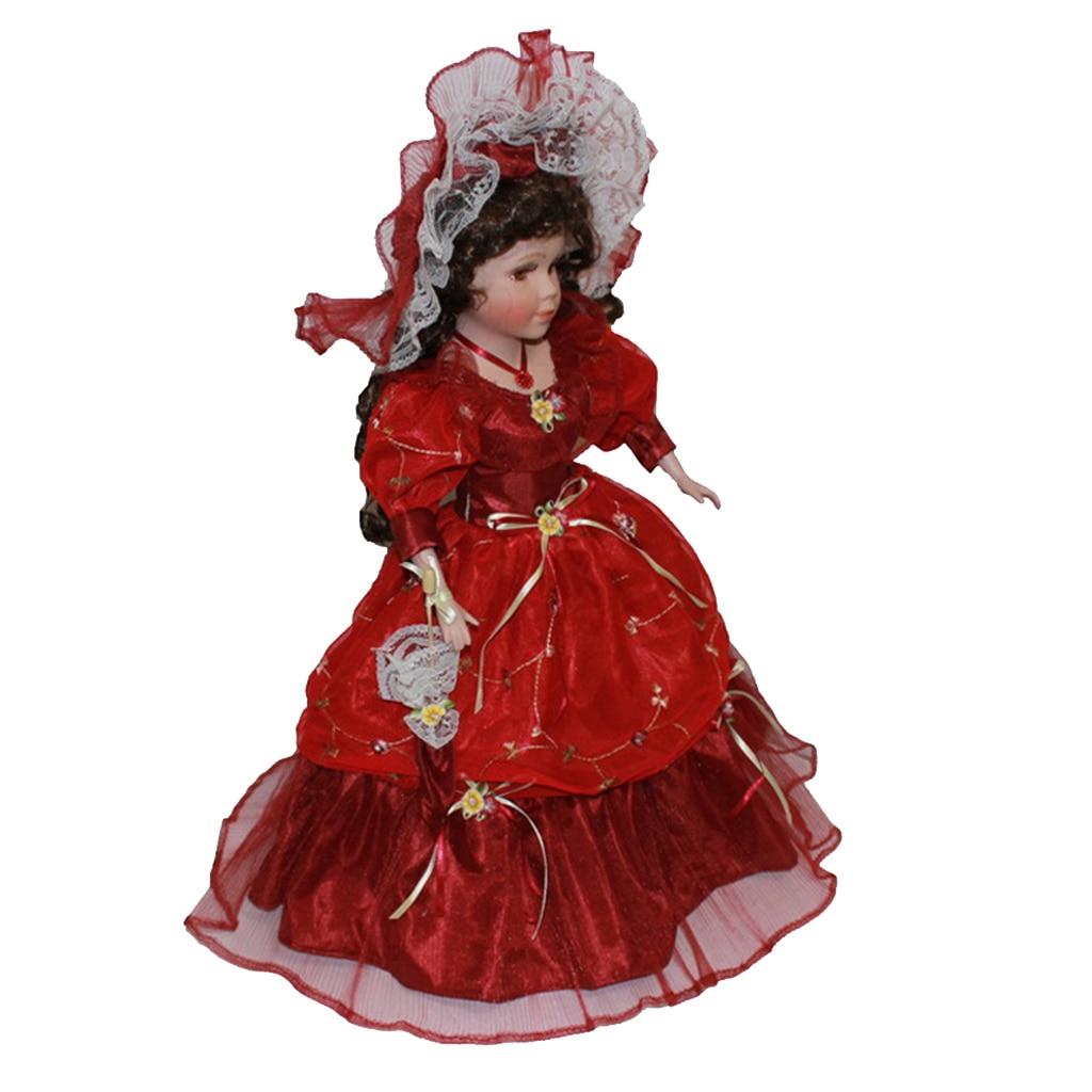 40 см викторианская фарфоровая женская кукла модель в красном длинном платье шляпа домашний декор Куклы      АлиЭкспресс
