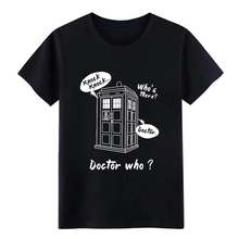 knock knock who  s there doctor who t shirt designer 100% cotton Round Collar solid color Cute Humor Summer Style Novelty shirt knock knock hello love flipbook