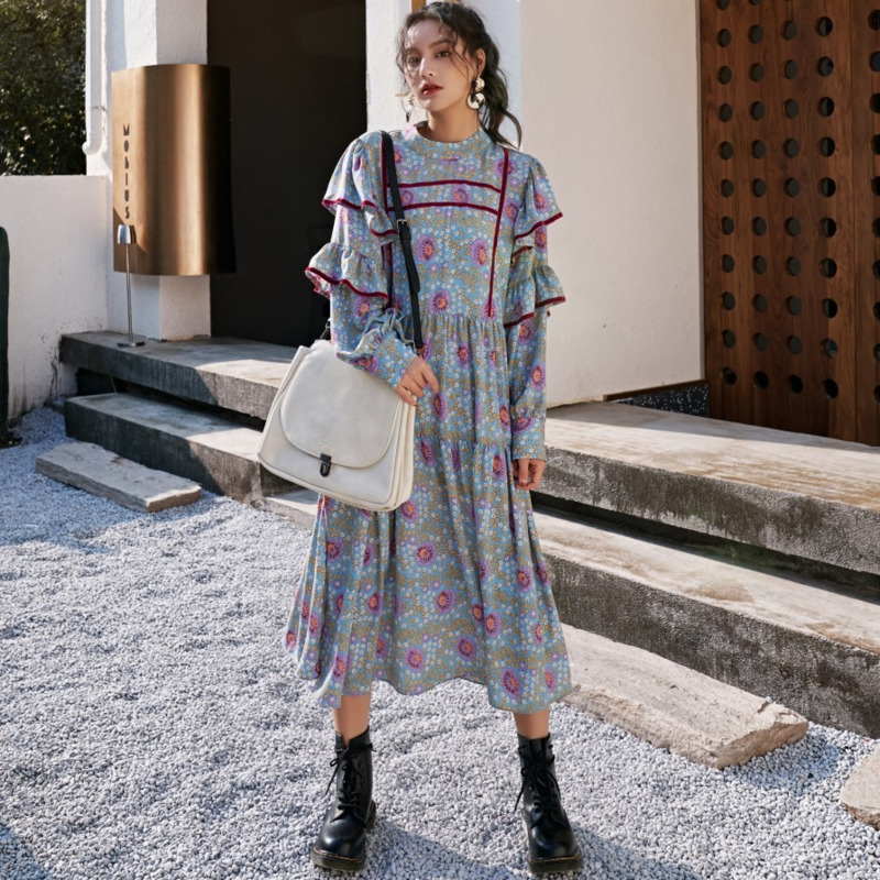 LANMREM 2020 new spring and sumemr Petal sleeves stand collar pullover loose big size long dress female vestido WL17414M