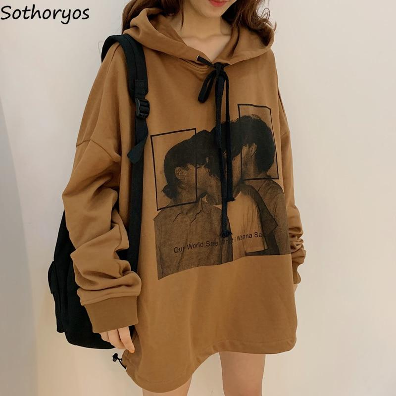 Hoodies Women Printed High Quality Streetwear Ulzzang Harajuku Soft Female Spring Autumn Loose Students Thin Womens Clothing