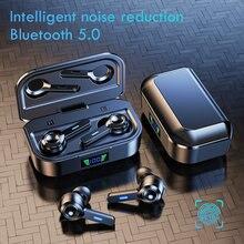 Znp bluetooth 5.0 fone de ouvido display led sem fio tws com microfone fones estéreo à prova dwaterproof água cancelamento ruído fone