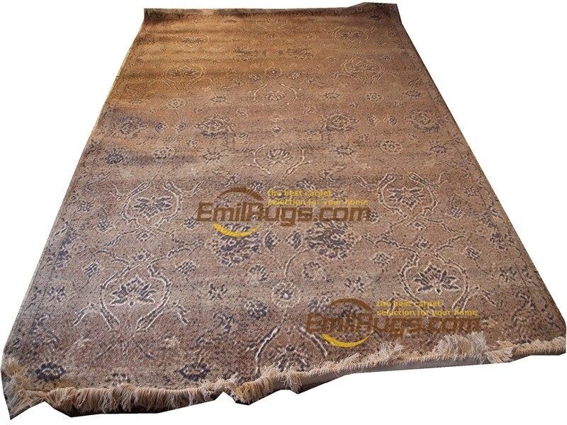 Tapis pour salon épais et peluche Savonnerie tapis européen réversible français Chic tapis carré aztèque couverture laine de mouton naturelle